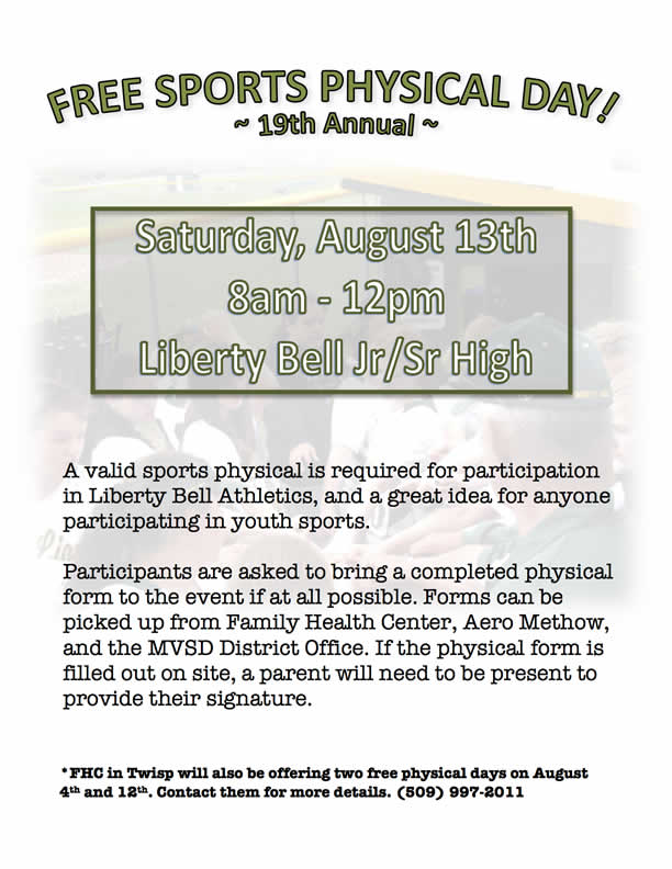 19Th Annual Free Sports Physical Day! :: Methow Valley Schools