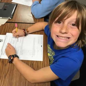 Smiling math student