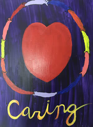 Caring heart painting