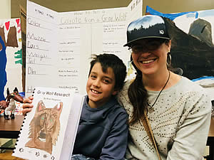 3rd Grade Student with Science Project