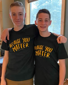 "MVSD Students wearing ""Because You Matter"" t-shirts"
