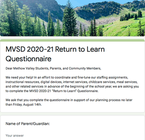 MVSD 2020-21 Return to Learn Questionnaire