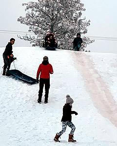 MVE students sledding