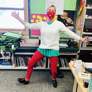 MVE Teacher in holiday outfit