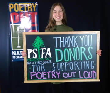 MVSD Poetry Out Loud Student thanks PSFA