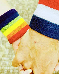 Rainbow wristband with red, white, blue wristband